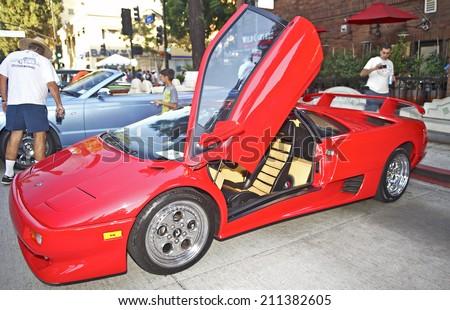 BURBANK/CALIFORNIA - JULY 26, 2014: 1996 Lamborghini Diablo at the Burbank Car Classic July 26, 2014, Burbank, California USA  - stock photo