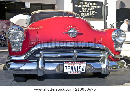BURBANK/CALIFORNIA - JULY 26, 2014: 1952 Oldsmobile Rocket 88 owned by Keith Doplet at the Burbank Car Classic July 26, 2014, Burbank, California USA  - stock photo