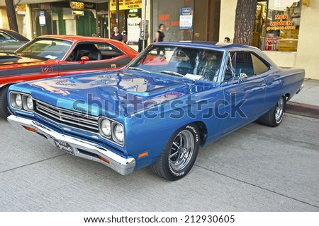 BURBANK/CALIFORNIA - JULY 26, 2014: 1969 Plymouth Roadrunner owned by Matt Sicheri at the Burbank Car Classic July 26, 2014, Burbank, California USA  - stock photo