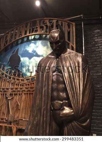 BURBANK - JUL 14: Batman at the Warner Bros. Studio Tour Hollywood Expansion Official Unveiling, Stage 48: Script To Screen at WB Studios on July 14, 2015 in Burbank, CA - stock photo