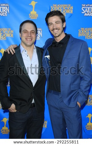 BURBANK - JUN 25: Geoff Johns, Grant Gustin at the 41st Annual Saturn Awards at The Castaway on June 25, 2015 in Burbank, California, - stock photo