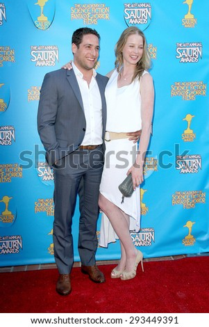 BURBANK - JUNE 25: Michael Kewshaw and Rachel Nichols arrive at the 41st Annual Saturn Awards on Thursday, June 25, 2015 at the Castaway Restaurant in Burbank, CA. - stock photo