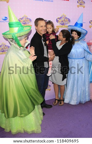 BURBANK - NOV 10: Chad Lowe, wife Kim, daughter Mabel at the premiere of Disney Channels' 'Sofia The First: Once Upon a Princess' at Walt Disney Studios on November 10, 2012 in Burbank, California - stock photo