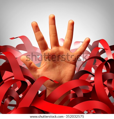 Bureaucratic red tape problem as a human hand tangled in bureaucracy and regulations as a business concept and symbol of government gridlock or corporate regulatory confusion. - stock photo