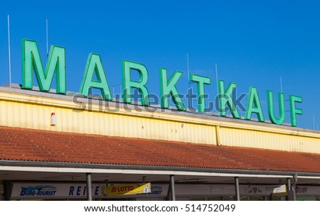 BURG / GERMANY - NOVEMBER 13, 2016: Marktkauf sign, a discount supermarket chain based in Germany. Marktkauf GmbH is one of the largest German trading companies and part of the Edeka Group.