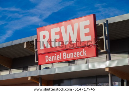 BURG / GERMANY - NOVEMBER 13, 2016: subsidiary from german supermarket chain, REWE. The REWE Group is a German diversified retail and tourism co-operative group based in Cologne, Germany.