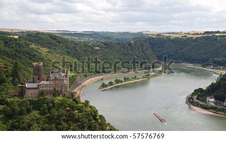 Burg Katz - Cat Castle with Lorelei rock in the Rhineland-Palatinate, St. Goarshausen, Germany - stock photo