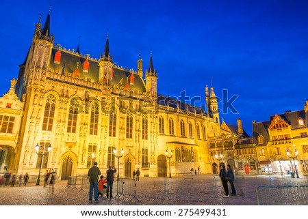 Burg square with the City Hall in Bruges, Belgium. Night view. - stock photo