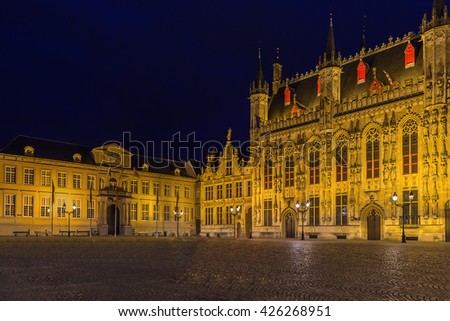 Burg square with town hall in historic center of Bruges at evening, Belgium - stock photo