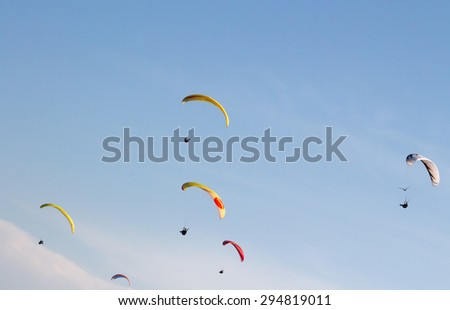Burgas - July 27: Competition Accuracy landing paraglider - Free flying of gliders after the race July 25 to 27, 2014 July 27, 2014, Burgas, Bulgaria