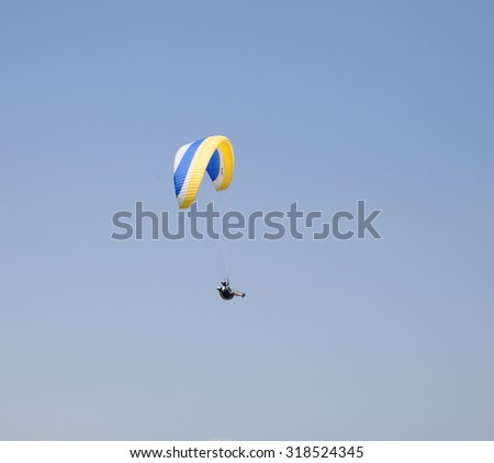 Burgas - July 24: Competition Accuracy landing paragliding - paraglider against the blue sky, July 24 to 26, 2015 to July 24, 2015, Burgas, Bulgaria