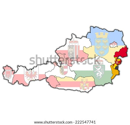 burgenland flag on map of austria with administrative divisions - stock photo