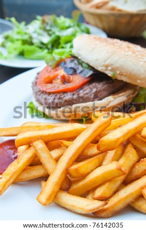 burger - American burger with fresh salad