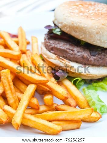 burger - American burger with fresh salad - stock photo
