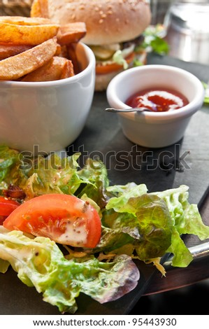 burger - American cheese burger with fresh salad