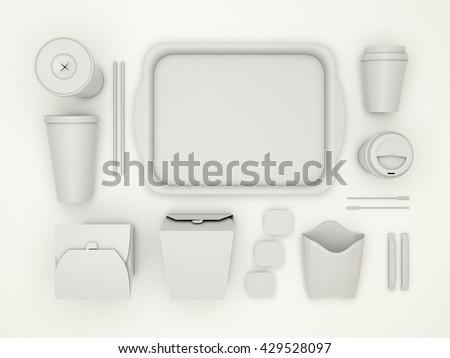 Burger bar set white blank design stock illustration for Food bar mockup