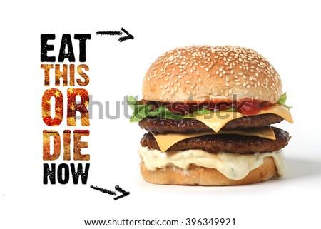 burger beef  American junk fast food hamburger with cheese cheeseburger - stock photo