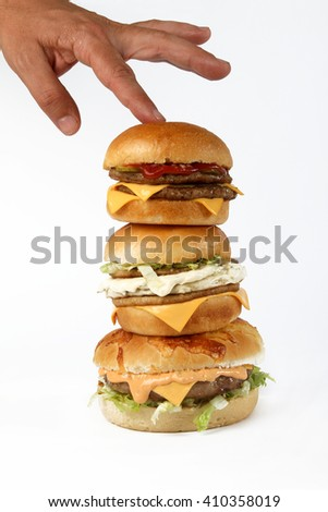 burger beef  American junk fast food hamburger with cheese cheeseburger sauces hot - stock photo