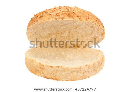 Burger bun closeup isolated on white background