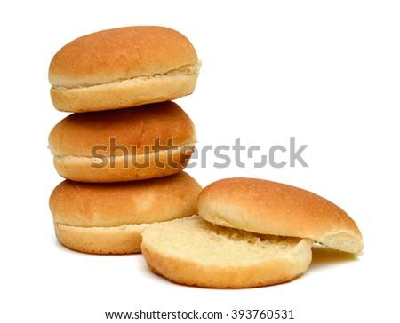 burger buns on white background  - stock photo
