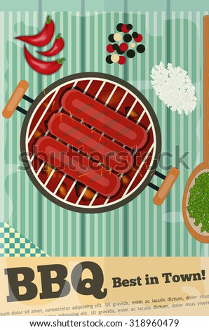 Burger Cartoon - Funny Hamburger, Ketchup and Mustard.  - stock photo