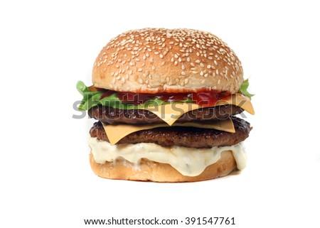 burger double beef  - American food - fast food - junk food - hamburger  - stock photo