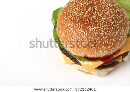 burger double  beef  cheeseburger and fries  American food  fast food  junk food  hamburger - stock photo