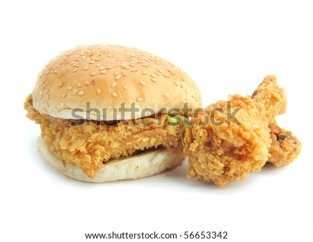 burger Fried chicken Meal - stock photo