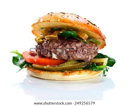 burger isolated on a white reflexive background - stock photo