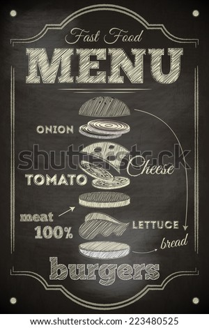 Burger Menu Poster on Chalkboard. Hamburger Ingredients. Illustration. - stock photo