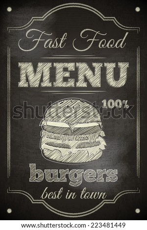 Burger Menu Poster on Chalkboard. Illustration. - stock photo