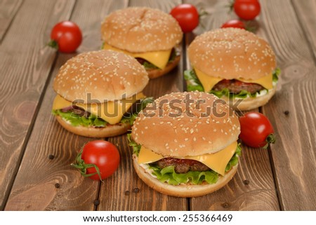 Burger on a brown background - stock photo