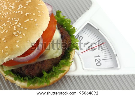 Burger on a weight scale - stock photo