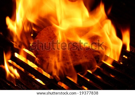 Burger on the grill with fire - stock photo