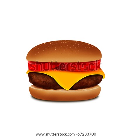 burger on white - stock photo
