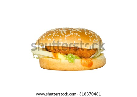 burger on white background with clipping path