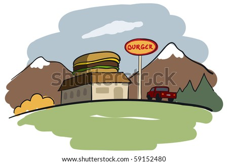 Burger restaurant with a view - stock photo