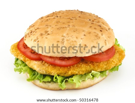 Burger sandwich with chicken and vegetables - stock photo