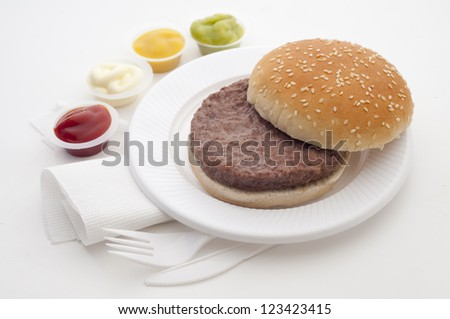 burger to put bread ingredients list - stock photo
