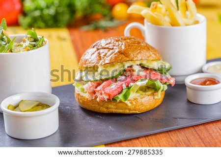 Burger with crab meat - stock photo