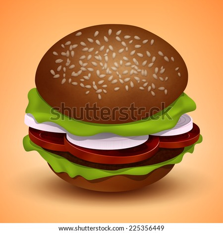 Burger with cutlet, tomatoes, onions and salad - stock photo