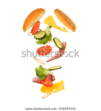 burger with flying ingredients on white background with cuisine fly 3d. Black Bedroom Furniture Sets. Home Design Ideas
