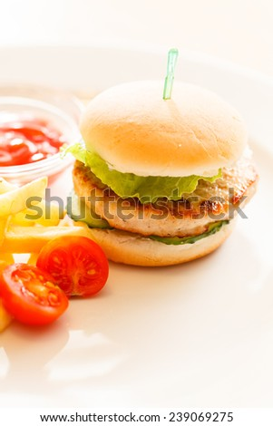 burger with french fries - stock photo