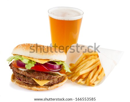 Burger with french fries and  beer isolated on white background - stock photo