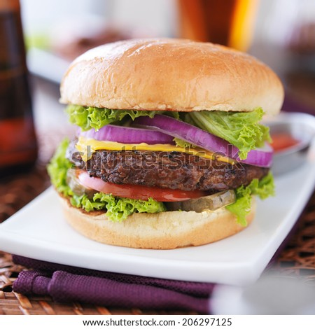 burger with fries and beer - stock photo