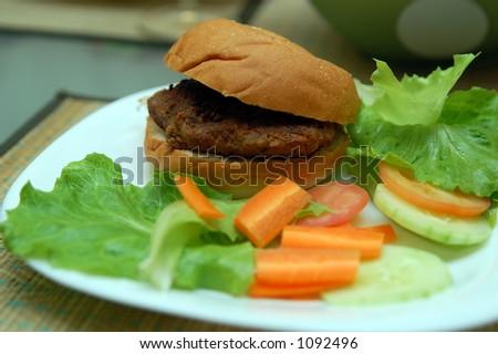 burger with salad - stock photo