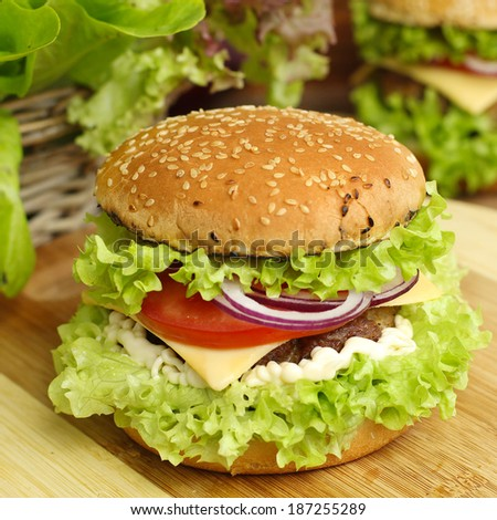 burger with vegetables and beef - stock photo