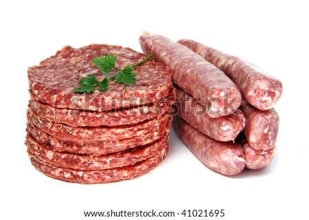 burgers ans sausages on a white background