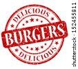 Burgers red grunge stamp - stock