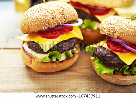 Burgers with beer - stock photo